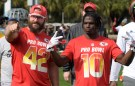 Jan 24, 2019; Kissimmee, FL, USA; Kansas City fullback Andrew Sherman (42) and receiver Tyreek Hill (10) during AFC practice for the 2019 Pro Bowl  at ESPN Wide World of Sports Complex. Mandatory Credit: Kirby Lee-USA TODAY Sports - 12049299