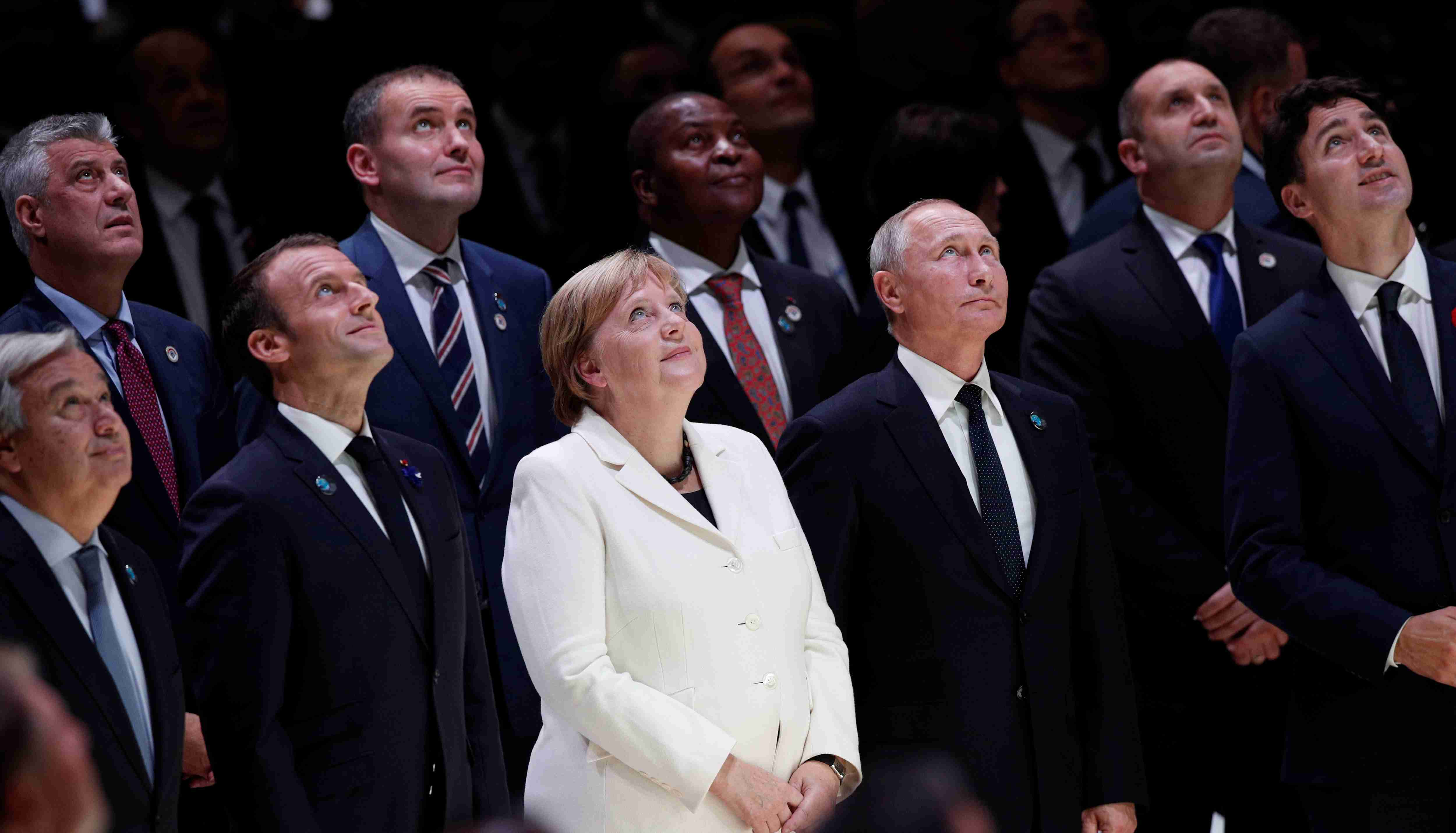 UN Secretary-General Antonio Guterres, French President Emmanuel Macron, German Chancellor Angela Merkel, Russian President Vladimir Putin, and Canadian Prime Minister Justin Trudeau at the Paris Peace Forum
