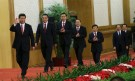 China's new Politburo Standing Committee members (from L to R) Xi Jinping, Li Keqiang, Zhang Dejiang, Yu Zhengsheng, Liu Yunshan, Wang Qishan and Zhang Gaoli, arrive to meet with the press at the Great Hall of the People in Beijing, November 15, 2012. China's ruling Communist Party unveiled its new leadership line-up on Thursday to steer the world's second-largest economy for the next five years, with Vice President Xi Jinping taking over from outgoing President Hu Jintao as party chief. REUTERS/China Daily (CHINA - Tags: POLITICS ELECTIONS TPX IMAGES OF THE DAY) CHINA OUT. NO COMMERCIAL OR EDITORIAL SALES IN CHINA - GM1E8BF1AJO01
