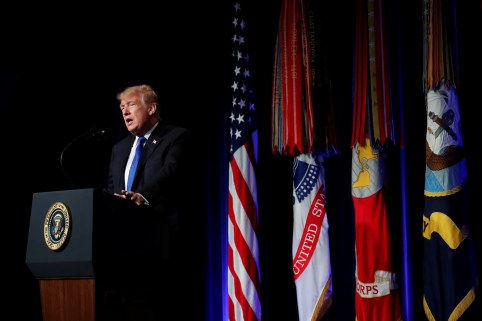 U.S. President Donald Trump speaks during the Missile Defense Review announcement at the Pentagon in Arlington, Virginia, U.S., January 17, 2019. REUTERS/Kevin Lamarque - RC1D4E23D950