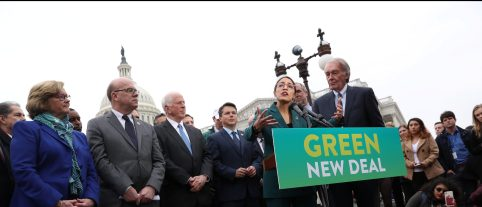 """U.S. Representative Alexandria Ocasio-Cortez (D-NY) and Senator Ed Markey (D-MA) hold a news conference for their proposed """"Green New Deal"""" to achieve net-zero greenhouse gas emissions in 10 years, at the U.S. Capitol in Washington, U.S. February 7, 2019.  REUTERS/Jonathan Ernst - RC1FD2ED6050"""