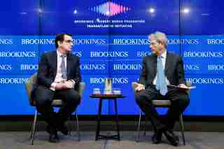 Paolo Gentiloni and Thomas Wright at Brookings.