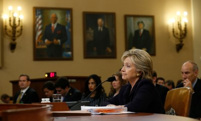 Hillary Clinton listens to a question as she testifies before the House Select Committee on Benghazi, on Capitol Hill in Washington October 22, 2015. The congressional committee is investigating the deadly 2012 attack on the U.S. diplomatic mission in Benghazi, Libya, when Clinton was the secretary of state. REUTERS/Jonathan Ernst - TB3EBAM1CG6FG