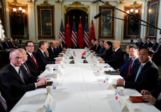 U.S.-China trade delegations hold trade talks at the White House in Washington.
