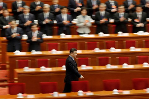 Chinese President Xi Jinping arrives for the closing session of the National People's Congress (NPC) at the Great Hall of the People in Beijing, China March 15, 2019.  REUTERS/Thomas Peter - RC1F8044CDA0
