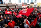People gather during a nationwide strike against the government's refusal to raise wages in Tunis, Tunisia January 17, 2019. REUTERS/Zoubeir Souissi - RC180C53AD40