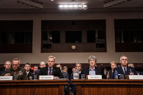 Chairman of the Joint Chiefs of Staff Gen. Joseph F. Dunford Jr., Acting Defense Secretary Patrick Shanahan, Secretary of the Air Force Heather Wilson and Air Force Gen. John E. Hyten testify at a Senate Armed Services hearing on the proposal to establish a U.S. Space Force, in Washington, U.S., April 11, 2019. REUTERS/Jeenah Moon - RC14348BC2E0