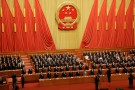 Officials sing the national anthem at the closing session of the National People's Congress (NPC) at the Great Hall of the People in Beijing, China March 15, 2019.  REUTERS/Thomas Peter - RC17C6B7C7E0