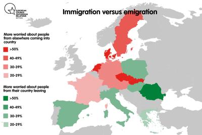 """Immigration versus emigration"" map of Europe"