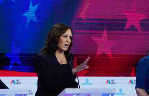 Senator Kamala Harris speaks during the second night of the first Democratic presidential candidates debate in Miami, Florida, U.S. June 27, 2019. REUTERS/Mike Segar - HP1EF6S09JQLS