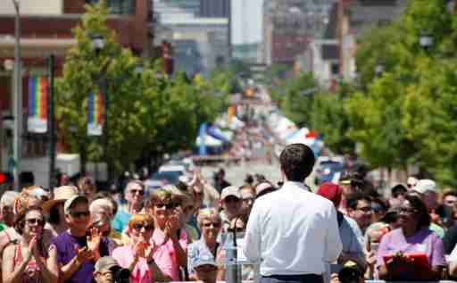 Democratic 2020 U.S. presidential candidate Mayor Pete Buttigieg, who is gay and married to another man, is applauded by the crowd as he speaks during the Capital Pride LGBTQ celebration at the Iowa State Capitol in Des Moines, Iowa, U.S. June 8, 2019   REUTERS/Brian C. Frank - RC124D383510