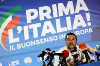 Italian Deputy Prime Minister and leader of far-right League party Matteo Salvini speaks during his European Parliament election night event in Milan, Italy, May 27, 2019. REUTERS/Alessandro Garofalo - RC1CD593CE00