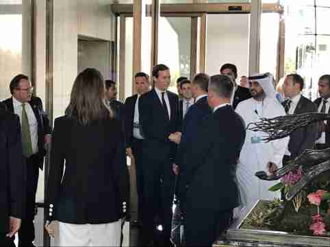 "White House senior adviser Jared Kushner and Treasury Secretary Steven Mnuchin arrive at Manama's Four Seasons hotel, the venue for the U.S.-hosted ""Peace to Prosperity"" conference, in Manama, Bahrain, June 25, 2019.  REUTERS/Matt Spetalnick - RC1A6E554E00"