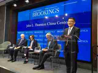 "Cheng Li provides welcome remarks for a public event titled ""U.S.-China relations: The view from cities and states"" at the Brookings Institution in Washington, DC, on July 29, 2019."
