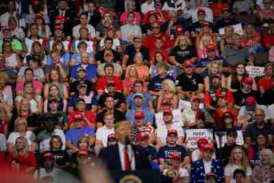 Supporters of U.S. President Donald Trump look on as Trump speaks during a campaign rally in Cincinnati, Ohio, U.S., August 1, 2019. REUTERS/Bryan Woolston - RC179FD13B60