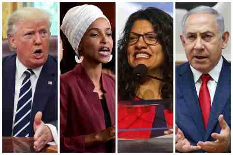 U.S. President Donald Trump, U.S. Congresswomen Ilhan Omar, Rashida Tlaib, and Prime Minister Benjamin Netanyahu are seen in a combination from file photos.  REUTERS/File Photos - RC166537AA60