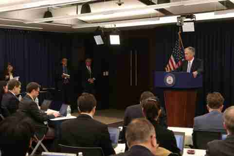 U.S. Federal Reserve Chairman Jerome Powell takes questions during a news conference following the two-day Federal Open Market Committee (FOMC) policy meeting in Washington, U.S., March 20, 2019. REUTERS/Jonathan Ernst - RC1E639BA290