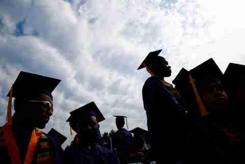 Graduates are seen before actor Chadwick Boseman addresses the 150th commencement ceremony at Howard University in Washington, U.S. May 12, 2018. REUTERS/Eric Thayer - RC18328A8330