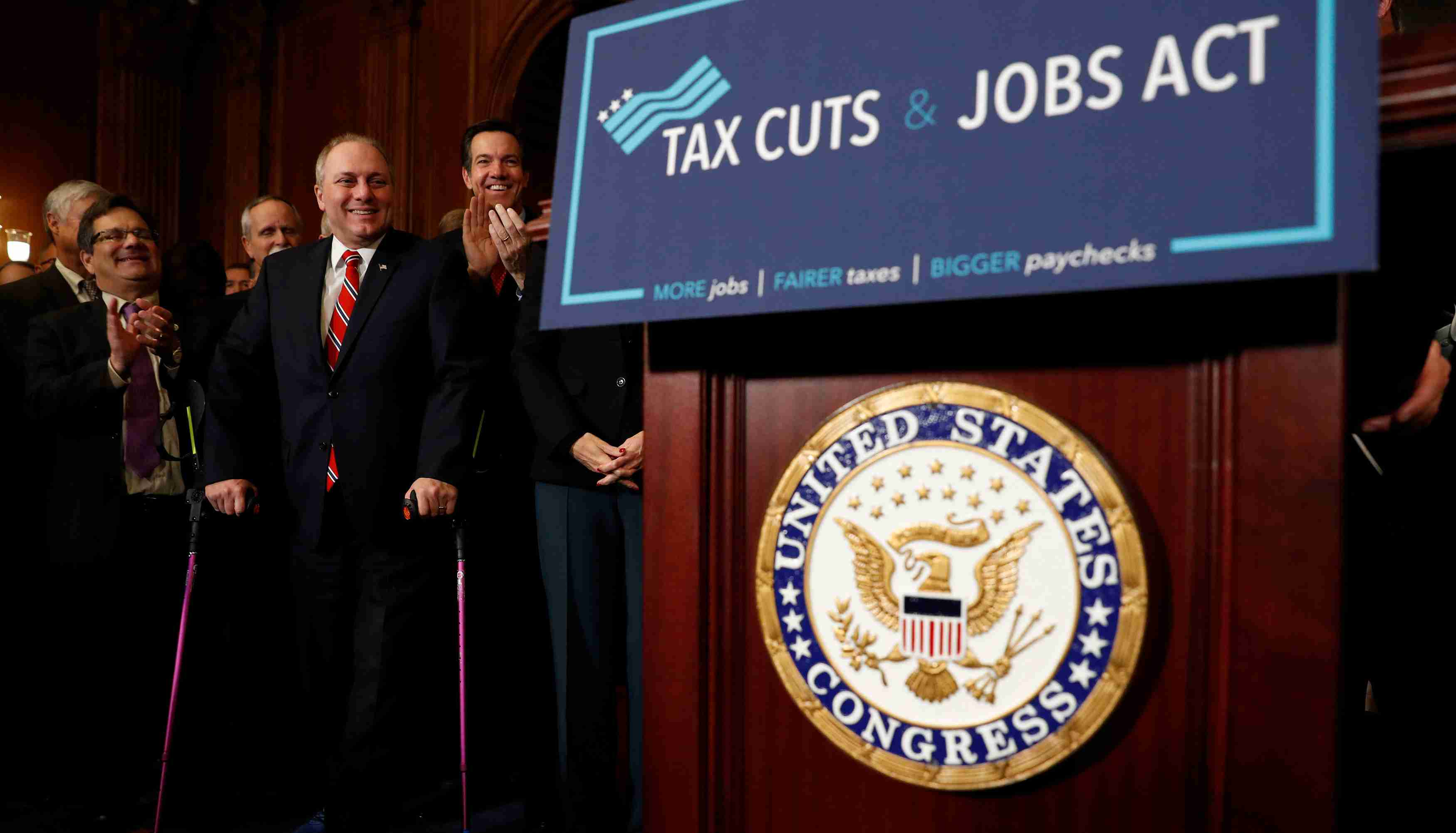 "House Majority Whip Rep. Steve Scalise (R-LA) looks on during a news conference announcing the passage of the ""Tax Cuts and Jobs Act"" at the U.S. Capitol in Washington, U.S., November 16, 2017. REUTERS/Aaron P. Bernstein - RC1B213C57E0"