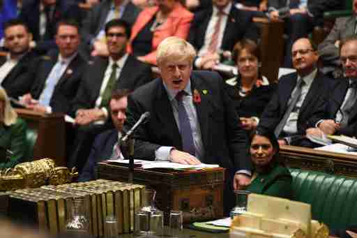 Britain's Prime Minister Boris Johnson speaks at the House of Commons in London, Britain October 30, 2019. ©UK Parliament/Jessica Taylor/Handout via REUTERS ATTENTION EDITORS - THIS IMAGE WAS PROVIDED BY A THIRD PARTY - RC157B67D070