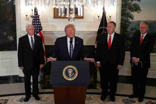 U.S. President Donald Trump delivers a statement on the conflict in Syria as Vice President Mike Pence, Secretary of State Mike Pompeo and White House National Security Advisor Robert O'Brien stand by in the Diplomatic Room of the White House in Washington, U.S., October 23, 2019. REUTERS/Tom Brenner - RC1CA1D434F0
