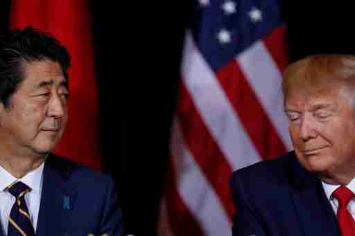 Japan's Prime Minister Shinzo Abe meets with U.S. President Donald Trump on the sidelines of the 74th session of the United Nations General Assembly (UNGA) in New York City, New York, U.S., September 25, 2019.  REUTERS/Jonathan Ernst - RC136BC73A00