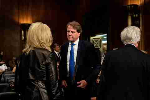 White House Counsel Don McGahn is seen at testimony of Judge Brett Kavanaugh during the Senate Judiciary Committee hearing on Capitol Hill, Washington, DC, U.S. September 27, 2018.  Erin Schaff/Pool via REUTERS - RC1CF7D19850