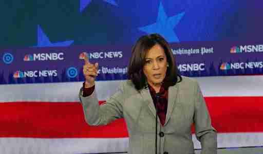 Democratic presidential candidate Senator Kamala Harris speaks during the fifth 2020 campaign debate at the Tyler Perry Studios in Atlanta, Georgia, U.S., November 20, 2019. REUTERS/Brendan McDermid - HP1EFBL08V31G