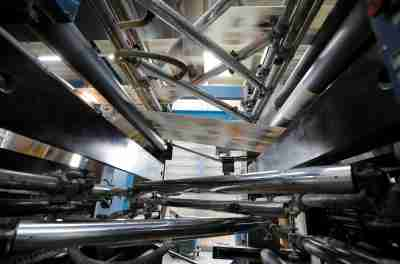 The Journal de Morges newspaper is being printed in the KBA rotary press at the Lausanne Printing Center (Centre d'Impression Lausanne), owned by Tamedia, in Bussigny, Switzerland, May 3, 2018. REUTERS/Denis Balibouse - RC1A045A9390
