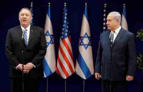 U.S. Secretary of State Mike Pompeo and Israeli Prime Minister Benjamin Netanyahu attend a meeting in Jerusalem, Friday, October 18, 2019. Sebastian Scheiner/Pool via REUTERS *** Local Caption *** - RC15280D3A20