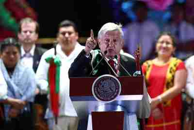 Mexico's President Andres Manuel Lopez Obrador addresses supporters after receiving the staff of command from indigenous people during the AMLO Fest at Zocalo square in Mexico City, Mexico December 1, 2018. Picture taken December 1, 2018. REUTERS/Edgard Garrido