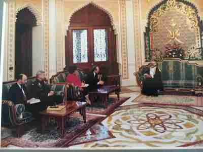 Sultan Qaboos meeting with Secretary of Defense William Perry in the Royal Palace in Muscat in 1996.