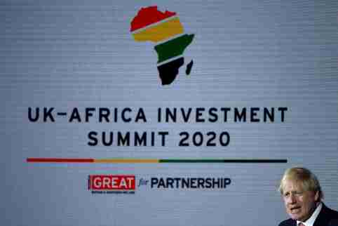 Britain's Prime Minister Boris Johnson speaks at the UK-Africa Investment Summit in London, Britain January 20, 2020. REUTERS/Henry Nicholls