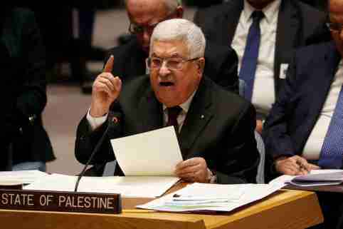 Palestinian President Mahmoud Abbas speaks during a Security Council meeting at the United Nations in New York, U.S., February 11, 2020.  REUTERS/Shannon Stapleton