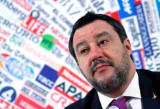 Leader of Italy's far-right party Matteo Salvini attends a news conference a day after the Senate voted to remove his legal protection, opening the way for a trial over accusations he illegally detained migrants at sea last year, in Rome, Italy, February 13, 2020. REUTERS/Guglielmo Mangiapane