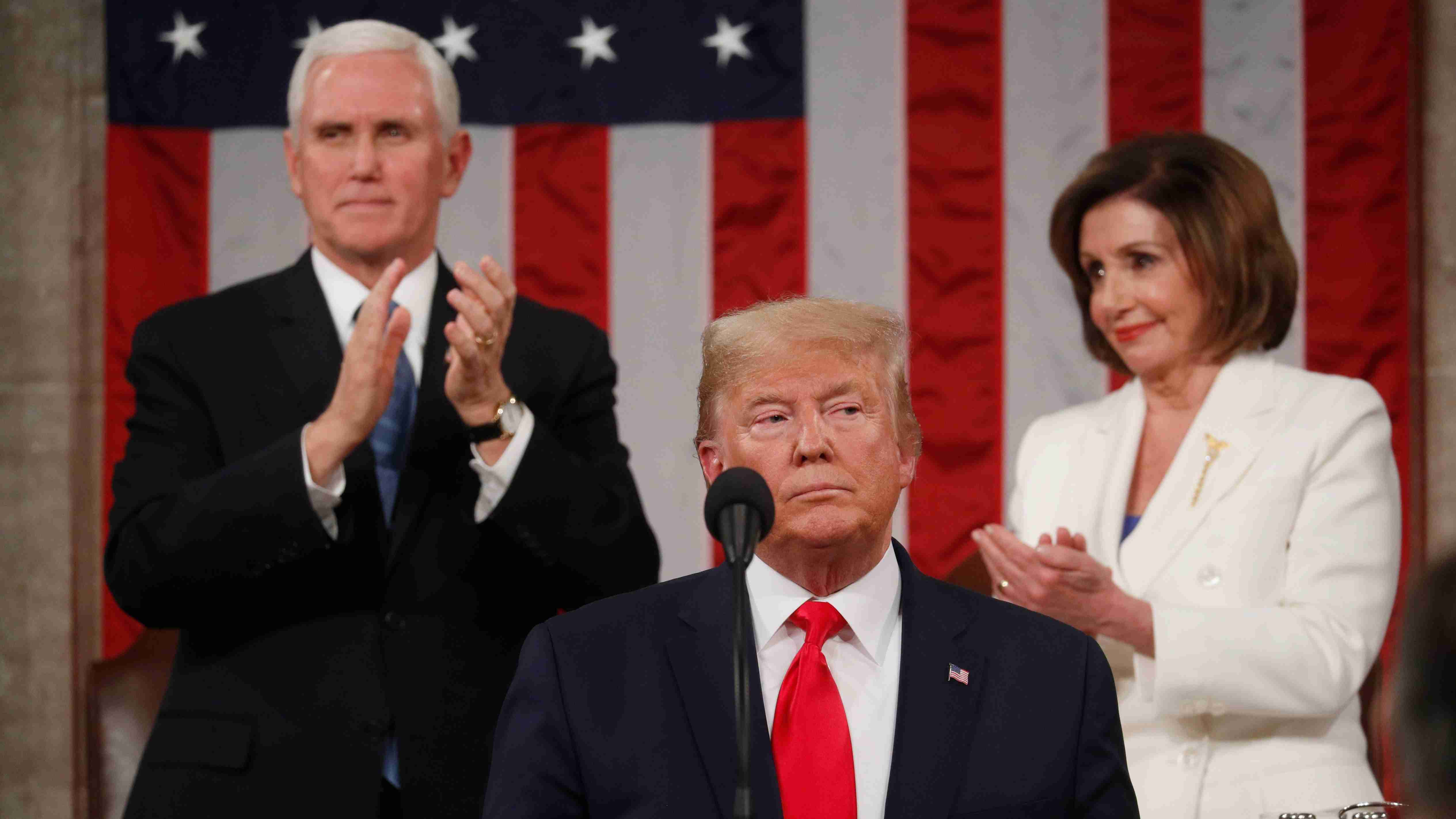 U.S. President Donald Trump delivers his State of the Union address to a joint session of the U.S. Congress in the House Chamber of the U.S. Capitol in Washington, U.S. February 4, 2020. REUTERS/Leah Millis/POOL