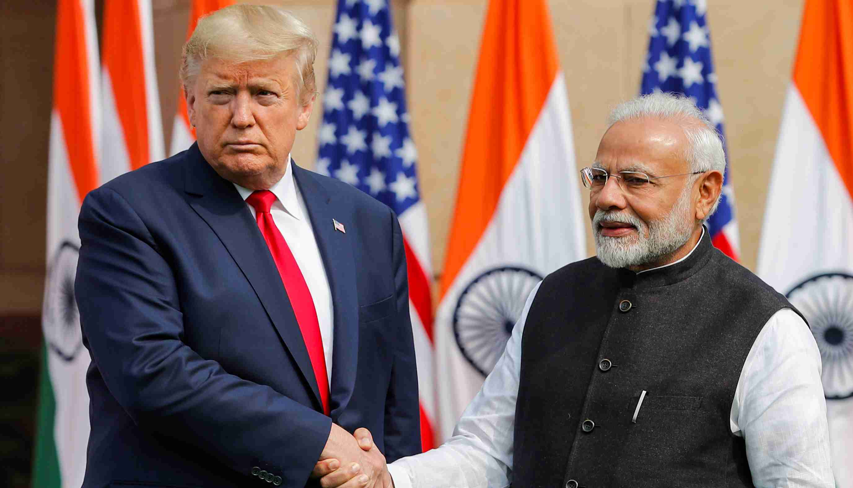 U.S. President Donald Trump shake hands with India's Prime Minister Narendra Modi ahead of their meeting at Hyderabad House in New Delhi, India, February 25, 2020. REUTERS/Adnan Abidi
