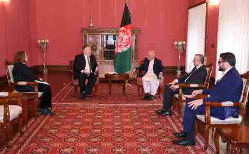 Afghanistan's President Ashraf Ghani meets with U.S. Secretary of State Mike Pompeo in Kabul, Afghanistan March 23, 2020. Afghan Presidential Palace/Handout via REUTERS     THIS IMAGE HAS BEEN SUPPLIED BY A THIRD PARTY. NO RESALES. NO ARCHIVES