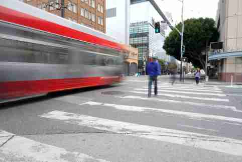 SF downtown, 5th St. and Mission St. had only three pedestrians crossing at a light cycle during the Shelter in Place order on March 17, 2020 in San Francisco, Calif.  Paul Kuroda/SIPA No Use UK. No Use Germany.