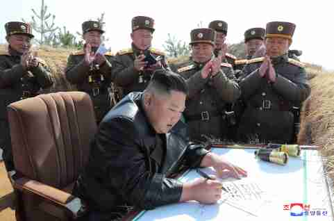 North Korean leader Kim Jong Un guides artillery fire competition in this image released by North Korea's Korean Central News Agency (KCNA) on March 20, 2020.    KCNA via REUTERS    ATTENTION EDITORS - THIS IMAGE WAS PROVIDED BY A THIRD PARTY. REUTERS IS UNABLE TO INDEPENDENTLY VERIFY THIS IMAGE. NO THIRD PARTY SALES. SOUTH KOREA OUT. NO COMMERCIAL OR EDITORIAL SALES IN SOUTH KOREA. - RC2XNF9LIL0G