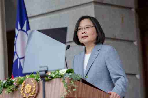 Taiwan President Tsai Ing-wen delivers her inaugural address at the Taipei Guest House in Taipei, Taiwan May 20, 2020.  Wang Yu Ching/Taiwan Presidential Office/Handout via REUTERS  ATTENTION EDITORS - THIS IMAGE WAS PROVIDED BY A THIRD PARTY. NO RESALES. NO ARCHIVES.