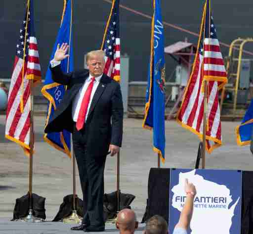 President Trump speaks Thursday, June 25, 2020 at Fincantieri Marinette Marine in Marinette, Wis. Trump's visit comes in the middle of his reelection bid against former Vice President Joe Biden, who secured the Democratic nomination earlier this month after a crowded primary contest. Both candidates hope to claim Wisconsin this November after Trump narrowly won the state in 2016, handing it to Republicans for the first time in years.MJS-gilbert26p3