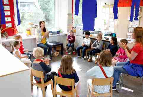 Children listen to the explanations of teacher Angela Melad on how to wash their hands at the KiGa Hutten kindergarten during the first day back as Switzerland eases the lockdown measures during the coronavirus disease (COVID-19) outbreak in Zurich, Switzerland May 11, 2020. REUTERS/Arnd Wiegmann