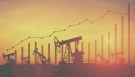 oil pumpjacks with bar graph overlay