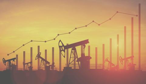 oil pumpjacks with bar graph overlay