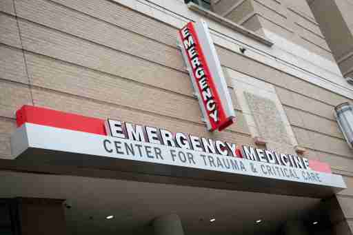 A general view of the Emergency Medicine sign at George Washington University Hospital, which is operated jointly with Universal Health Services (UHS), in Washington, D.C. on April 23, 2020 amid the Coronavirus pandemic. After extended negotiations over an additional $500 billion in stimulus funding in response to the ongoing COVID-19 outbreak, the U.S. Congress is set send another economic relief bill to President Trump to sign into law after a House vote later today. (Graeme Sloan/Sipa USA)No Use UK. No Use Germany.