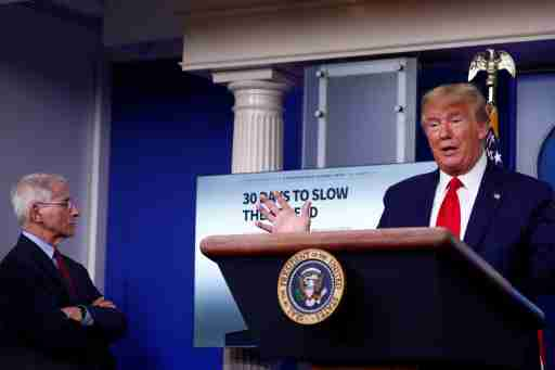 Dr. Anthony Fauci, Director of the National Institute of Allergy and Infectious Diseases, listens as U.S. President Donald Trump addressses the daily coronavirus response briefing at the White House in Washington, U.S., March 31, 2020. REUTERS/Tom Brenner?
