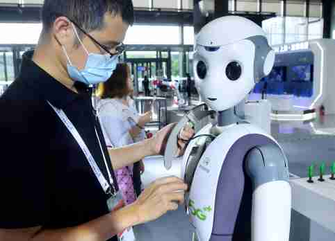 "The World Artificial Intelligence Conference (WAIC) officially opened in Shanghai on Thursday under the theme of ""Intelligent Connectivity, Indivisible Community"" with hundreds of speakers and industry experts sharing their insights on the latest developments in AI. Intelligent robots are displaying on the ground floor of Shanghai Expo Centre, Shanghai, China, 9 July 2020.No Use China. No Use France."