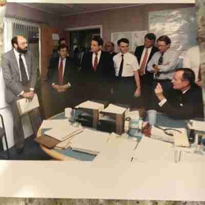 The author briefing President George H.W. Bush in August 1990 in the CIA's Operations Center Source: Author's personal collection.