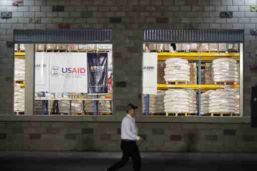 A view shows aid at a warehouse where international humanitarian aid for Venezuela is being stored, during a visit by U.S. Secretary of State Mike Pompeo and Colombia's President Ivan Duque, near the La Unidad cross-border bridge between Colombia and Venezuela in Cucuta, Colombia April 14, 2019. REUTERS/Luisa Gonzalez